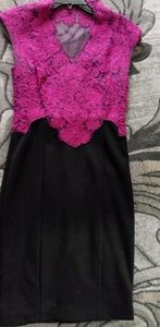 Black and mulberry dress